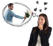 考虑男朋友的女实业家 免版税图库摄影