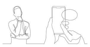 考虑社会媒介流动应用程序-实线图画的人 皇族释放例证