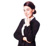 考虑问题的可爱的女实业家 免版税图库摄影