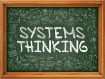 系统考虑-手拉在绿色黑板 库存照片