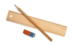 统治者、铅笔和橡皮擦 免版税库存图片