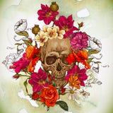 死者的头骨和花天 库存图片