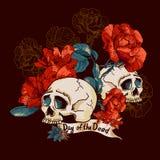 死者的头骨和花天 免版税图库摄影