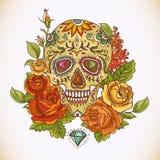 死者的头骨和花天 图库摄影