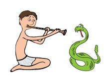耍蛇者,骗子传染媒介例证 库存照片
