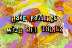 耐心仁慈善良经验知识关系爱 库存图片