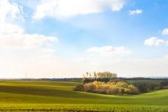 耕地领域在秋天 免版税库存照片
