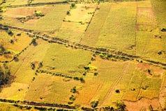耕种的土地空中射击在厄瓜多尔 库存照片