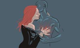 耦合爱 男人和妇女显示心脏用他的手 查家 免版税图库摄影