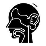 耳朵、鼻子和喉头-耳鼻喉科的象,传染媒介例证,在被隔绝的背景的黑标志 向量例证