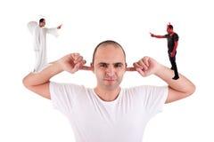 耳朵手指他的藏品听的人没有 免版税库存照片