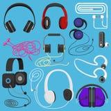 耳机传染媒介听的例证耳机到音乐为dj和音频耳机设备例证立体音响头饰 向量例证