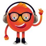 戴耳机和眼镜的传染媒介滑稽的妖怪 库存图片