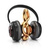 耳机和高音谱号 库存图片