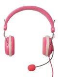 耳机查出的粉红色 库存图片