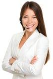 耳机电话推销妇女 免版税库存照片
