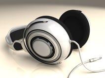 耳机白色左低DOF 免版税库存图片