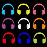 耳机耳机象集合 五颜六色的剪影 音乐卡片 平的设计样式 奶油被装载的饼干 查出 免版税图库摄影