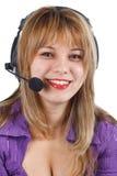 耳机运算符妇女年轻人 免版税库存图片