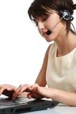 耳机运算符妇女 免版税库存图片
