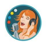 耳机音乐女孩唱歌 皇族释放例证