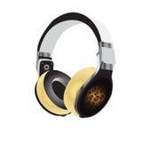 耳机,黄色,声音 免版税库存照片