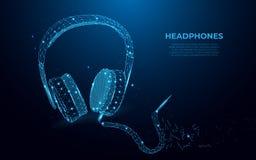耳机 抽象图象的以满天星斗的天空或空间,wireframe概念的形式耳机 多角形样式 库存例证