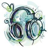 耳机绘画 免版税库存图片