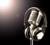 耳机mic聚光灯 免版税库存照片