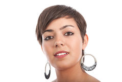 耳环妇女 免版税库存图片
