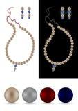 耳环项链珍珠珍珠 库存例证