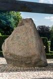 耶灵石是巨型的被雕刻的runestones, 10世纪,具体化,丹麦 图库摄影