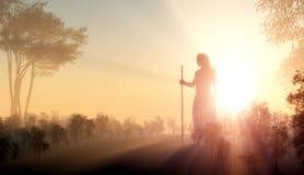 耶稣剪影  图库摄影