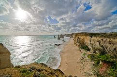 耶稣十二门徒岩层,大洋路 免版税图库摄影