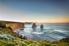 耶稣十二门徒日出的维多利亚澳大利亚 库存照片