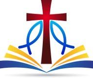 耶稣十字架圣经鱼 皇族释放例证