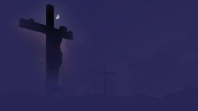 耶稣受难象剪影被设置反对剧烈的天空 免版税库存图片