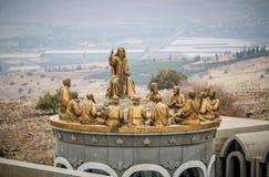 耶稣和十二位传道者,多穆斯Galilaeae雕象在以色列 免版税库存图片