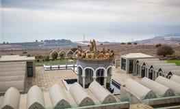耶稣和十二位传道者,多穆斯Galileae雕象在以色列 库存照片