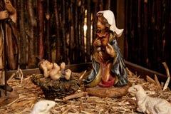 耶稣和玛丽(诞生场面) 免版税库存图片