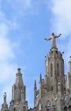耶稣圣心的教会登上的Tibidabo在巴塞罗那 免版税库存图片