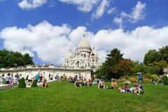 耶稣圣心(Basilique du Sacre-Coeur)的大教堂在巴黎 免版税库存图片