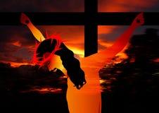 耶稣在十字架上钉死 库存图片