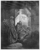 耶稣在马莎和玛丽议院里  免版税图库摄影