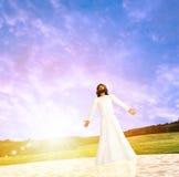 耶稣在水例证走 免版税库存照片