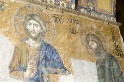 耶稣基督和约翰浸礼会老马赛克从12世纪, 库存照片