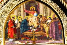 耶稣基督圣徒马赛克中央寺院大教堂门面佛罗伦萨意大利 免版税库存图片