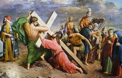 耶稣基督在十字架上钉死  图库摄影