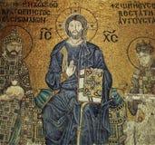 耶稣基督在圣索非亚大教堂的马赛克构成 免版税库存照片