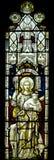 耶稣基督好牧羊人污迹玻璃窗 库存照片